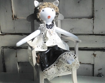Handmade rag doll, gift for her doll,, one of a kind cloth doll, gift doll, anniversary gift,  No 14