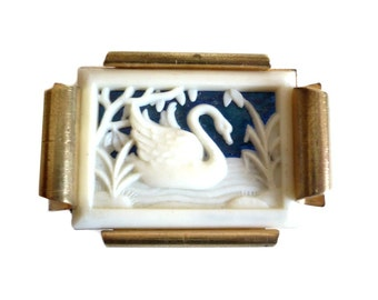 Antique French Brass Brooch - Celluloid Cut Out - Swan on Water
