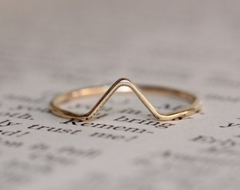 Solid 14K Gold Chevron Ring, Stacking Ring, Rose Gold, White Gold, V Ring, Wedding Band, Stackable Ring, Smooth Band
