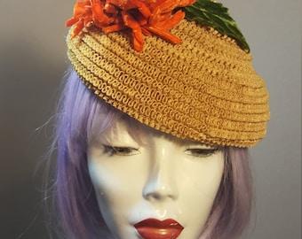 FREE  SHIPPING  1950 Straw Mini Hat
