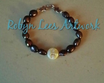 Black Freshwater Pearl Bracelet with Crystal Shine Smiling Moon and Silver Stars Toggle Clasp