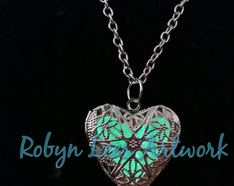 Green Glow In The Dark Filigree Heart Necklace in Silver on Various Lengths of Crossed Chain