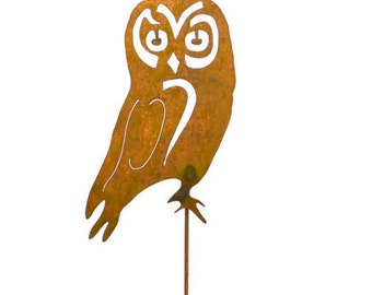 Serious Owl Metal Garden Stake, Yard Art GS16