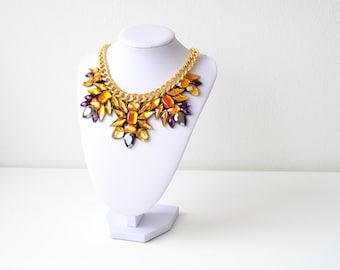 Gold Rhinestone Gem Crystal Statement Necklace