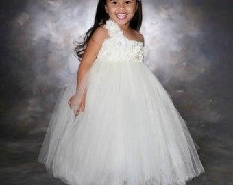 Flower girl Dress- Ivory Flower girl dress-  Flower girl dresses- Tutu Dress
