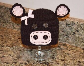 black angus cow hat, black cow hat newborn,cow hat, baby cow hat, cow hats, girl cow hat, pink cow hat, black and pink cow hat,newborn prop