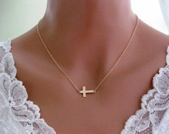 14k Solid gold, Sideways Cross necklace, Celebrity Style Simple Cross necklace, x Gold or Silver, Skinny Cross Celebrity Inspired Necklace,