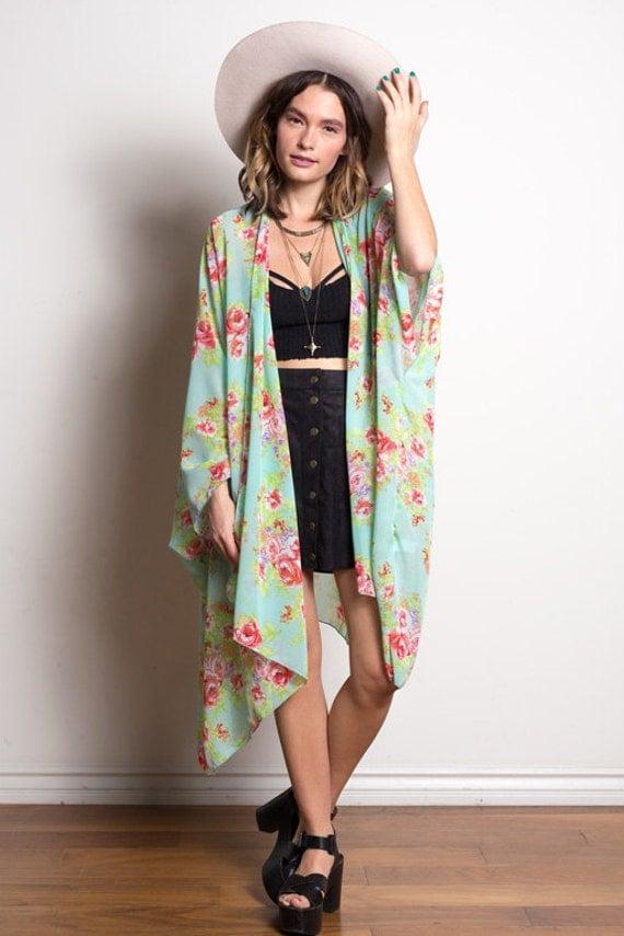 Boho Kimono | Seafoam Floral