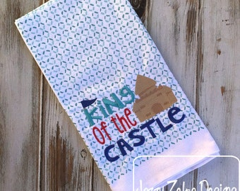 King of the Castle saying embroidery Design - sand castle embroidery Design - beach embroidery Design - summer embroidery Design - kitchen