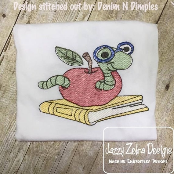 Worm with Books and Apple Sketch Embroidery Design - school Sketch Embroidery Design - teacher Sketch Embroidery Design - apple Sketch