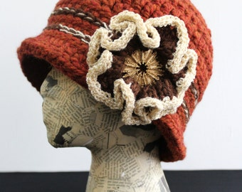 Burnt Orange Crocheted Cloche with Brown and Gold Flower and Vintage Brooch