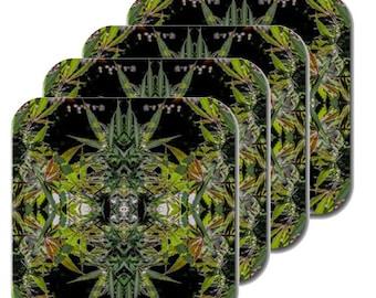Cannabis Coasters: Four Pack Marijuana Coasters in Blueberry Marijuana Print, Coasters, Table Coasters, Ganja Coasters- MADE TO ORDER