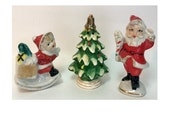 Lefton Santa Pixie Elf Porcelain Figurine Trio Holiday Glitter Christmas Tree Decor only at Soaring Hawk Vintage