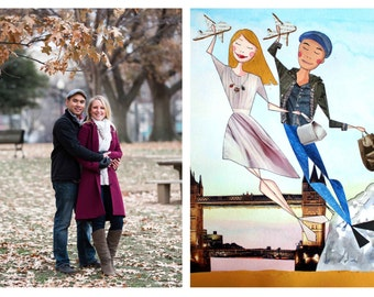 Large Custom Couple Portrait -  Traveling couple - Horizontal Format - Gift for your Partner