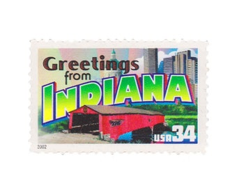 5 Unused US Postage Stamps - 2002 34c Greetings from Indiana - Item No. 3574