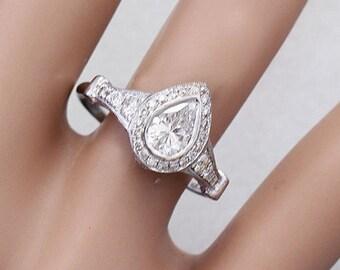 14k white gold pear shape simulated diamond bezel set engagement ring 1.85ct