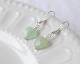 Aventurine Heart Earrings, Aventurine earrings, Gemstone earrings, Green earrings, Silver earrings, August birthstone earrings
