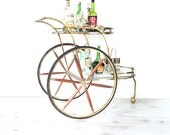 Bar Cart ~ Vintage Wood And Brass Tiered Tea Trolley ~ Serving Cart