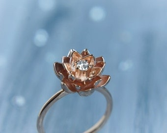 18K gold flower engagement ring, diamond ring, rose gold ring, unique engagement ring, proposal ring, lotus ring, gold ring, red gold ring