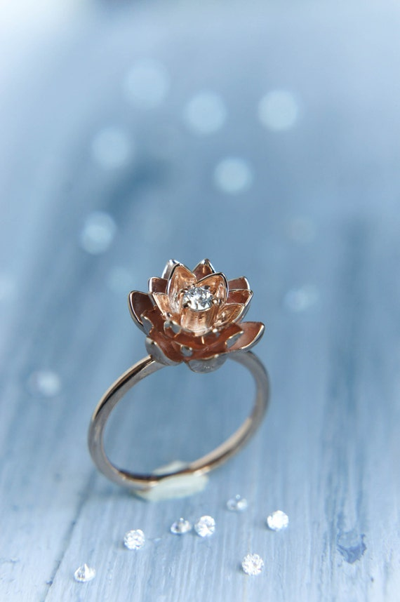 gold flower engagement ring diamond ring rose gold ring. Black Bedroom Furniture Sets. Home Design Ideas