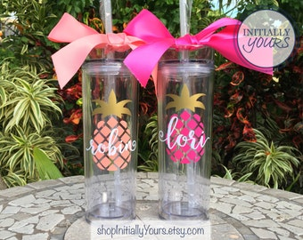 Personalized Pineapple Tumbler, Skinny Tumbler, Monogram Pineapple Cup, Personalized Gift, Gift for Her, Gift for Women, Gifts under 25