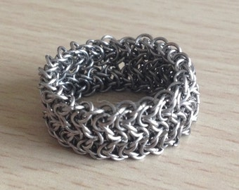 "Chainmaille Ring - Intricate Stainless Steel Ring - ""Elfsheet"" Finger Ring"