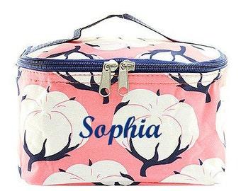 Monogrammed Cosmetic Bag  Coral Cotton Cosmetic Bag  Monogrammed Makeup Bag
