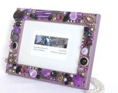 Jewelry frame, Purple Mosaic Frame, purple decor, silver Photo Frame, Girlfriend photo gift