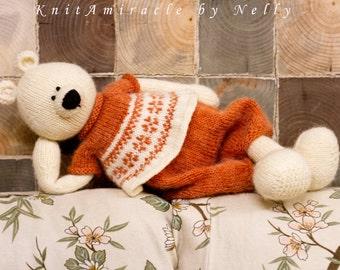 Toy knitting pattern Knitted teddy bear pattern Knitting pattern animal DIY knitted toy soft toy making Amanda bear the Northern Princess