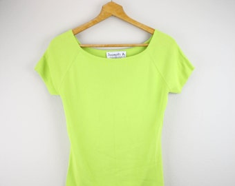 90's Simple Lime Green Ladies T Shirt Top