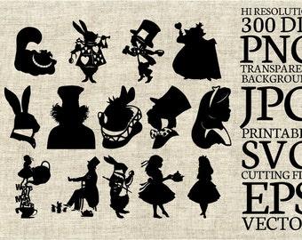 Alice in Wonderland Disney Silhouette SVG Cut File, Digital Clipart, Editable Vector