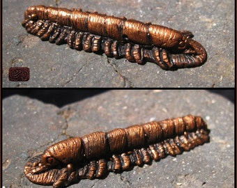 Miniature Copper Millipede Figure - Ornate Insect Idol - Hand Carved Cast in Resin - Cult Relic Artifact