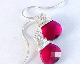 Teardrop Fuchsia Earrings, Wire Wrapped Sterling Silver Jewelry, Petite Hot Pink Swarvoski Crystals, French Hooks, Hand Made Fuschia Earring