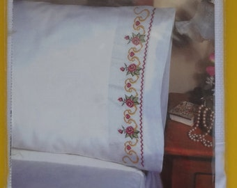 Counted Cross Stitch Floral Scroll Design PILLOWCASE Kit for Standard Size Pillow