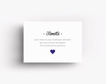 """Thank you card """"Timoté"""" with printed heart"""