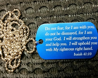Wear Your Faith - Do Not Fear Isaiah Verse Dog Tag with Chain - FREE US Shipping!