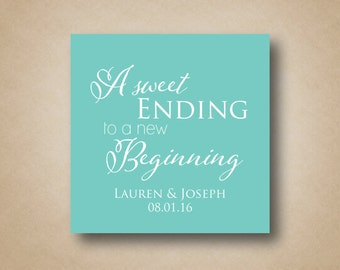 Wedding Favor Stickers Square Favor Labels Square Wedding Tags A Sweet Ending to a New Beginning Custom Wedding Labels Sweet Thank You