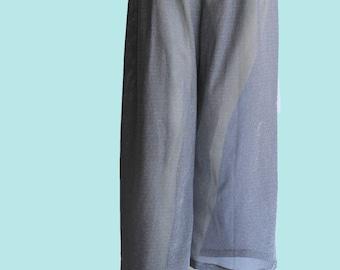 Vintage Michael Kors Silver Metallic Thread Sheer Palazzo Ankle Beach Pants