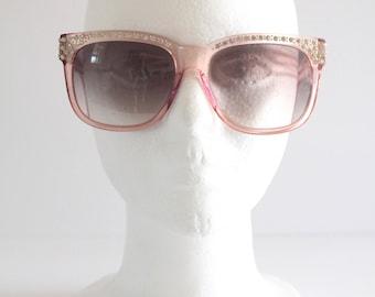 80's Vintage Clear Pink Rhinestone Encrusted YSL Plastic Frame Sunnies