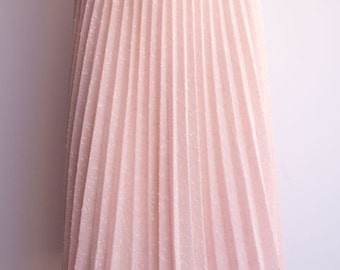 Gorgeous Sheer 80's Accordion Pleat Pastel Pink Midi Skirt