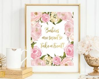 Blush + Gold Babies Are Sweet | Baby Shower Dessert Bar | Favors