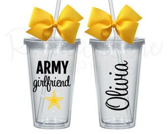 ON SALE! Any color: Army Girlfriend/Mom/Wife/Etc Personalized Tumbler