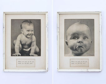 Vintage Pair of Framed Baby Prints // 1950s Photography Art Kitsch Wall Hanging