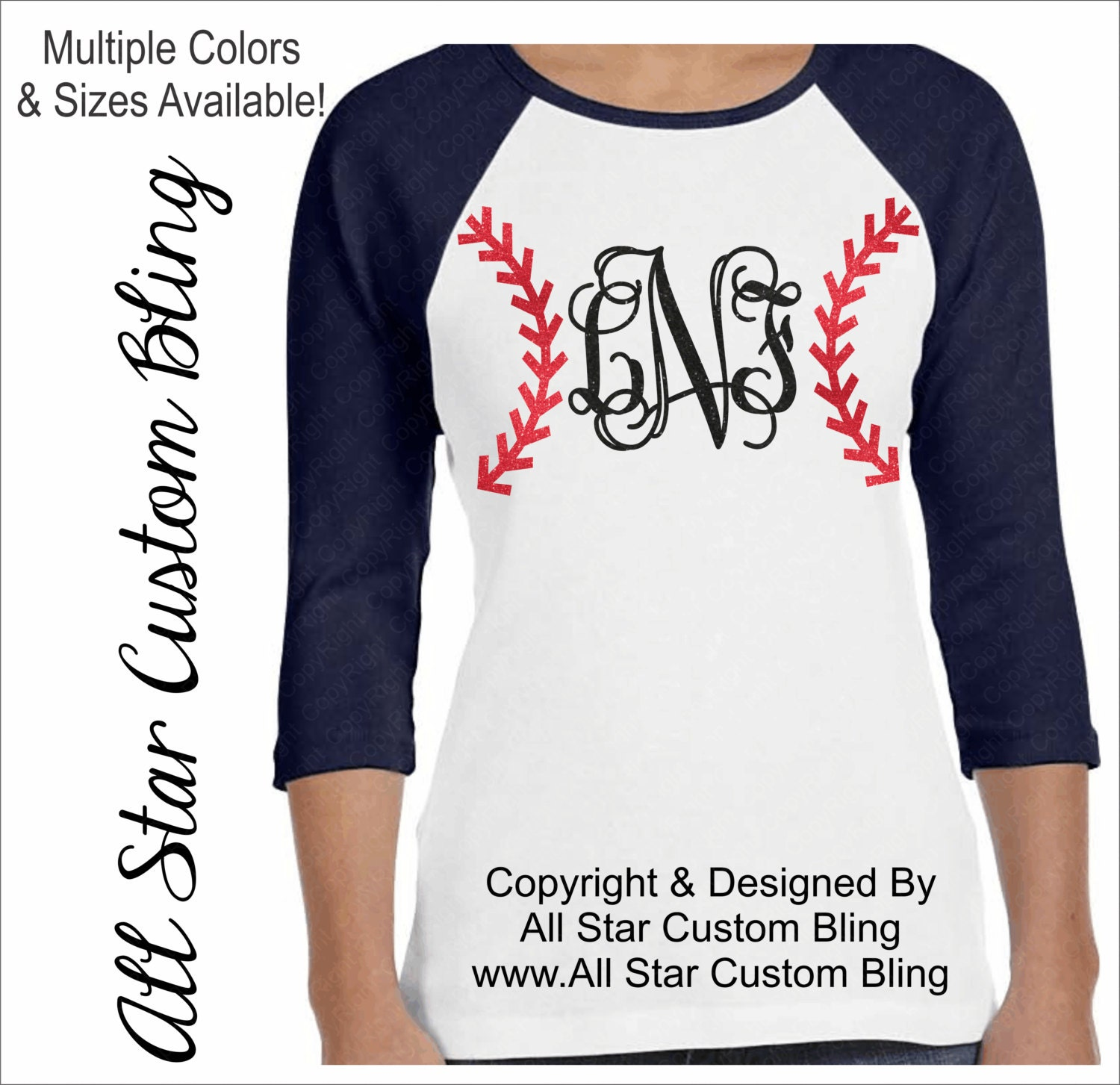 Custom monogram baseball raglan shirt custom baseball shirt Designer baseball shirts