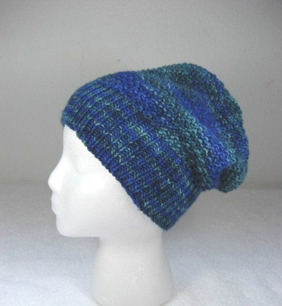 Slouchy Toque Knitting Pattern : Wool slouchy hat reversible blue toque hand knit cap four