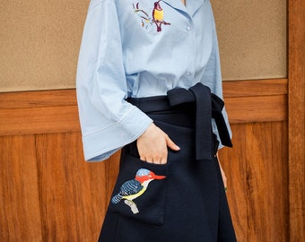 Fine Art Collection blue birds embroidery shirt/irregular high waist skirt