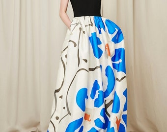 Fine Art Collection designed black and white blue flower blossom gorgeous evening dress