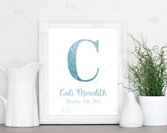 Glitter name monogram for nursery - PRINTABLE Wall Art / Child's name and date of birth with glitter color of your choice / Glitter name art