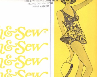 Women's Swim Suit With Skirt Vintage Pattern / Stretch & Sew 1327 / Bust sizes 30-42 / UNCUT