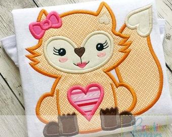 Valentine Heart Fox Girl Digital Machine Embroidery Applique Design 4 Sizes